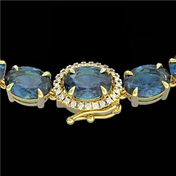 90 ctw London Blue Topaz & VS/SI Diamond Micro Necklace 14k Yellow Gold - REF-281K8Y