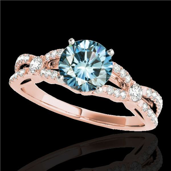 1.35 ctw SI Certified Fancy Blue Diamond Solitaire Ring 10k Rose Gold - REF-125X5A