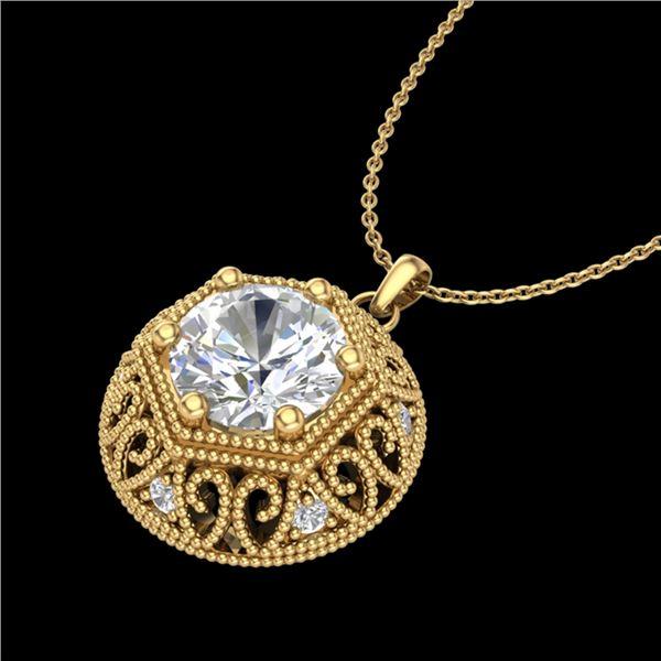 1.11 ctw VS/SI Diamond Solitaire Art Deco Necklace 18k Yellow Gold - REF-285G2W