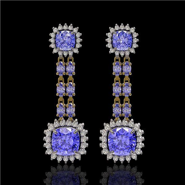 20.06 ctw Tanzanite & Diamond Earrings 14K Yellow Gold - REF-469M6G