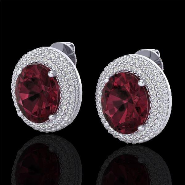 9 ctw Garnet & Micro Pave VS/SI Diamond Earrings 18k White Gold - REF-153A5N