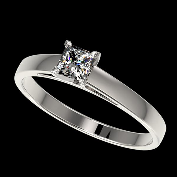 0.50 ctw Certified VS/SI Quality Princess Diamond Ring 10k White Gold - REF-60A3N