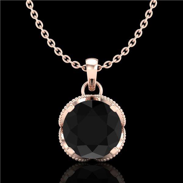 1.13 ctw Fancy Black Diamond Art Deco Stud Necklace 18k Rose Gold - REF-94W5H