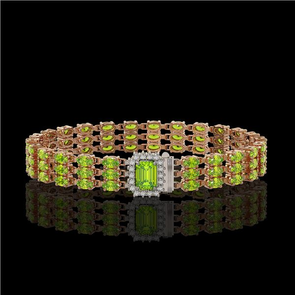 25.34 ctw Peridot & Diamond Bracelet 14K Rose Gold - REF-318M2G
