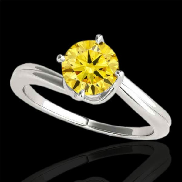 1 ctw SI/I Fancy Intense Yellow Diamond Bypass Ring 10k White Gold - REF-177A3N
