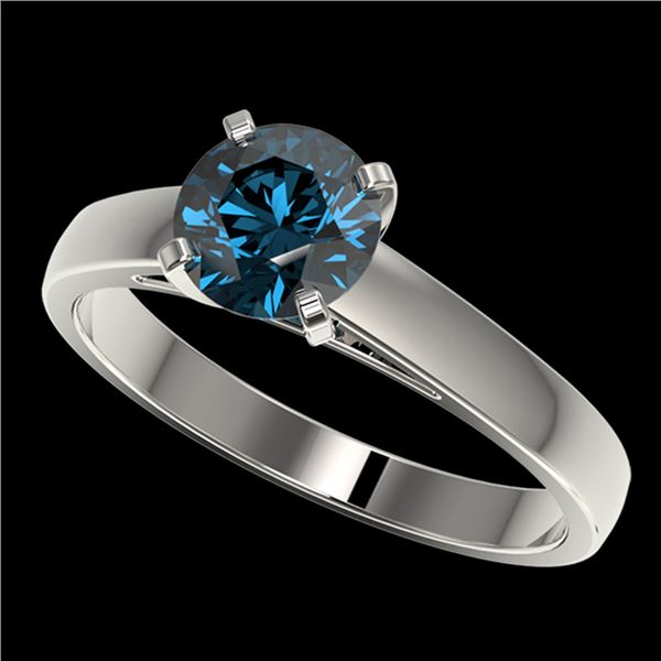 1.25 ctw Certified Intense Blue Diamond Engagment Ring 10k White Gold - REF-120F3M