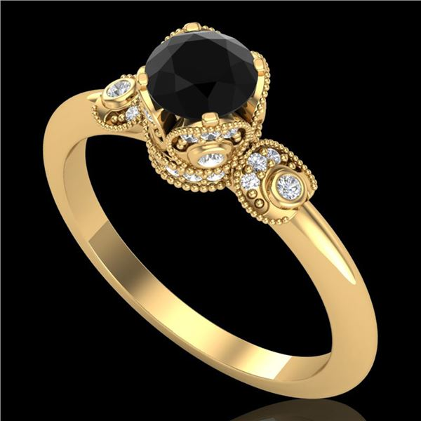 1 ctw Fancy Black Diamond Engagment Art Deco Ring 18k Yellow Gold - REF-80Y2X