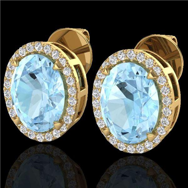 5.50 ctw Aquamarine & Micro VS/SI Diamond Halo Earrings 18k Yellow Gold - REF-96F4M
