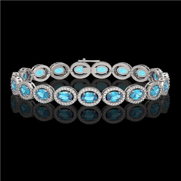 14.82 ctw Swiss Topaz & Diamond Micro Pave Halo Bracelet 10k White Gold - REF-263K6Y