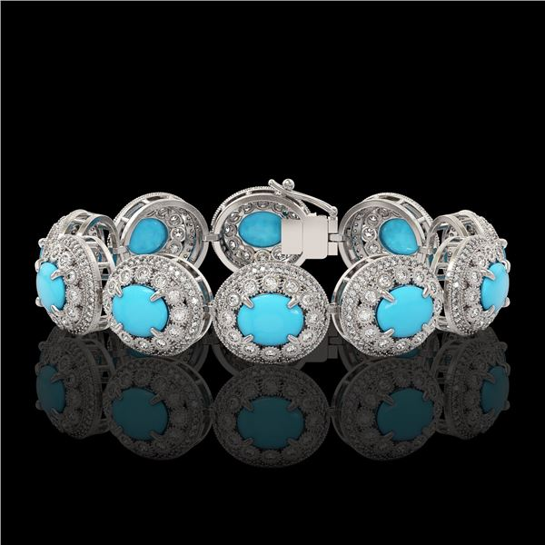 38.17 ctw Turquoise & Diamond Victorian Bracelet 14K White Gold - REF-1179K3Y