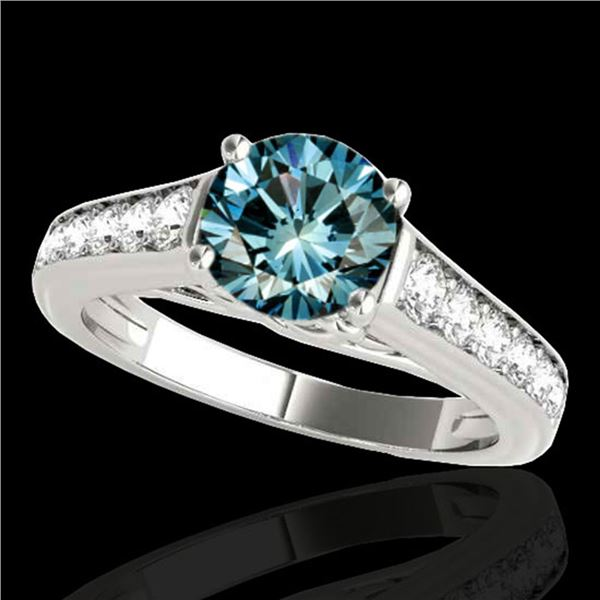 1.5 ctw SI Certified Fancy Blue Diamond Solitaire Ring 10k White Gold - REF-126G8W