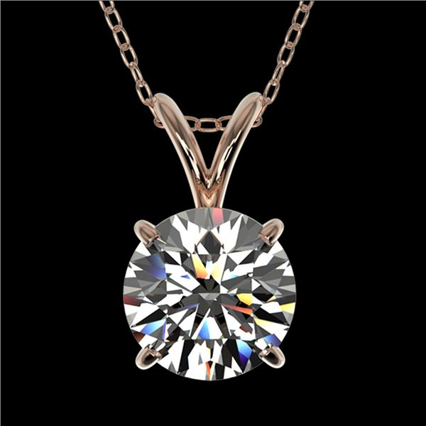 1.25 ctw Certified Quality Diamond Necklace 10k Rose Gold - REF-188H2R