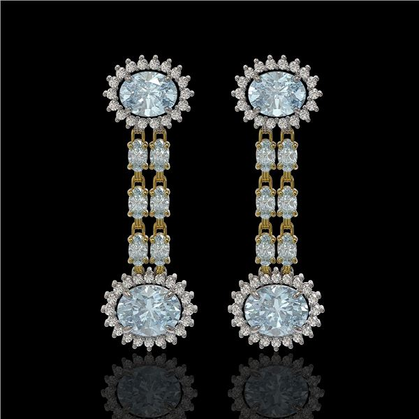 7.75 ctw Aquamarine & Diamond Earrings 14K Yellow Gold - REF-227H3R