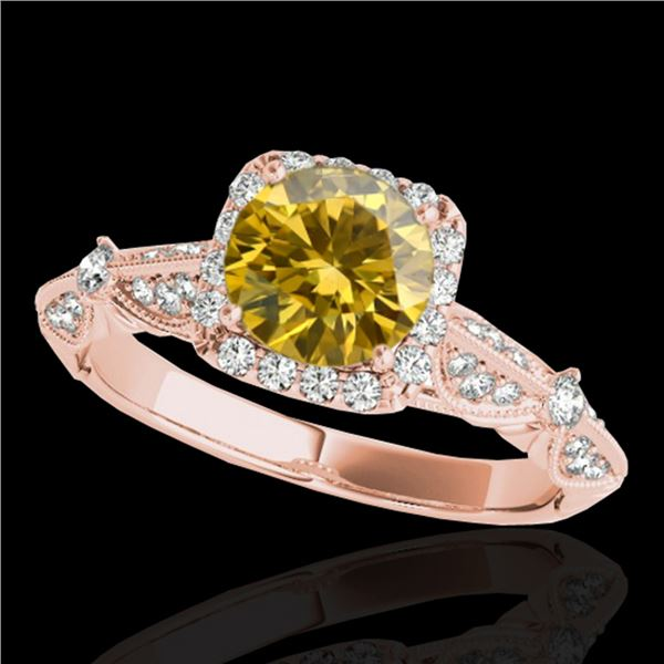 1.36 ctw Certified SI/I Fancy Intense Yellow Diamond Ring 10k Rose Gold - REF-204K5Y