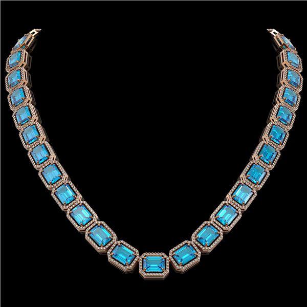 79.01 ctw Swiss Topaz & Diamond Micro Pave Halo Necklace 10k Rose Gold - REF-836G4W