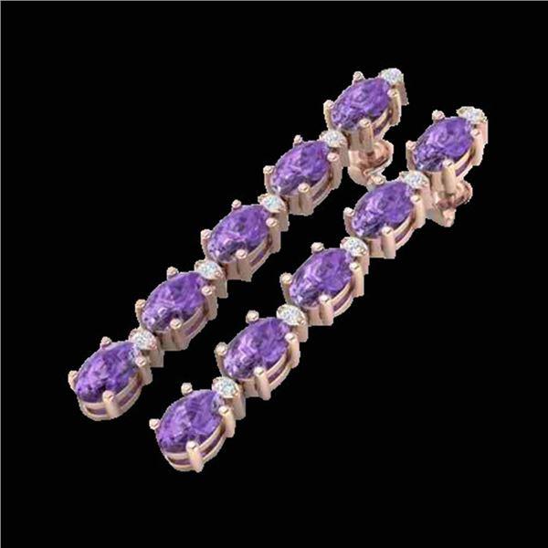 15.47 ctw Amethyst & VS/SI Certified Diamond Tennis Earrings 10k Rose Gold - REF-75W6H