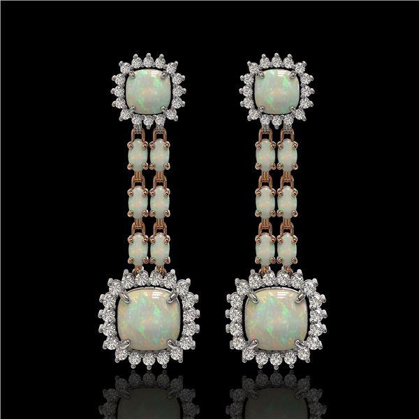 18.06 ctw Opal & Diamond Earrings 14K Rose Gold - REF-394H8R
