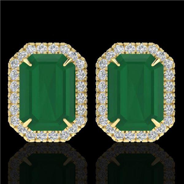10.40 ctw Emerald & Micro Pave VS/SI Diamond Earrings 18k Yellow Gold - REF-142F4M