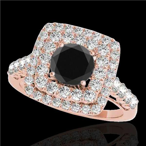 2.05 ctw Certified VS Black Diamond Solitaire Halo Ring 10k Rose Gold - REF-85H5R