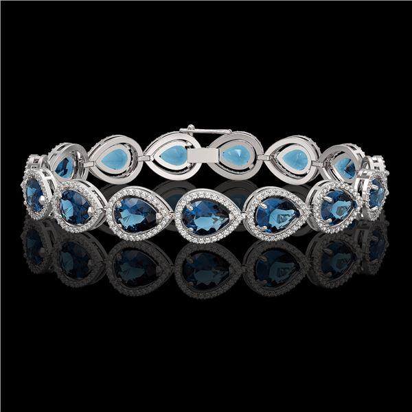 21.06 ctw London Topaz & Diamond Micro Pave Halo Bracelet 10k White Gold - REF-293N3F