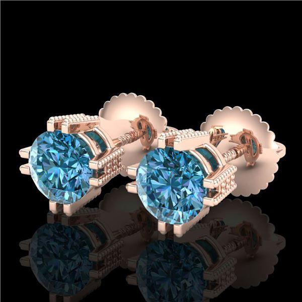 1.07 ctw Fancy Intense Blue Diamond Art Deco Earrings 18k Rose Gold - REF-143N6F