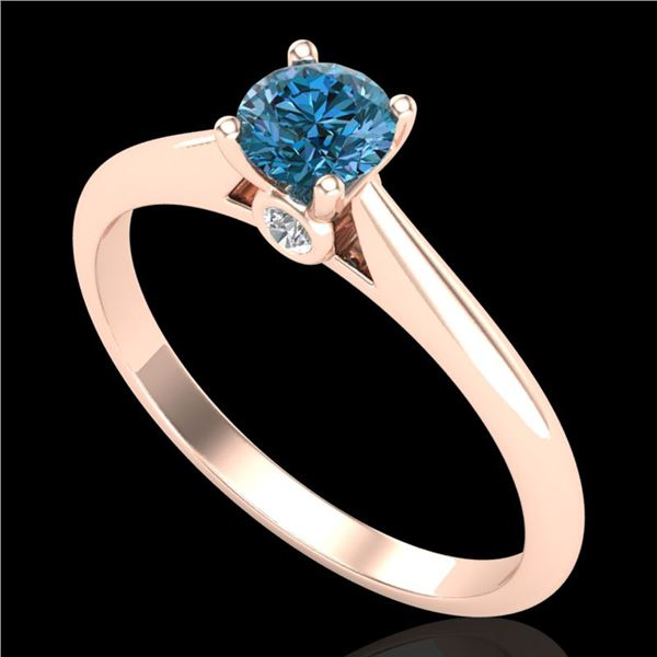 0.40 ctw Intense Blue Diamond Engagment Art Deco Ring 18k Rose Gold - REF-60M2G