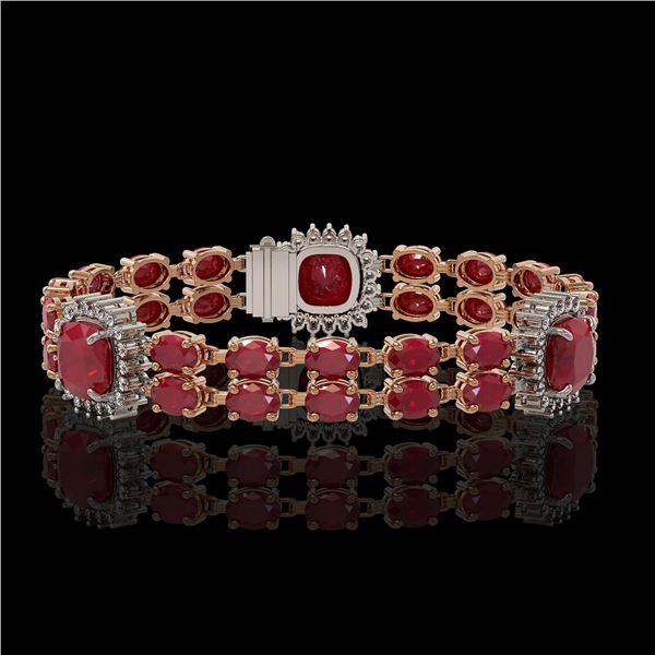 21.83 ctw Ruby & Diamond Bracelet 14K Rose Gold - REF-288A8N