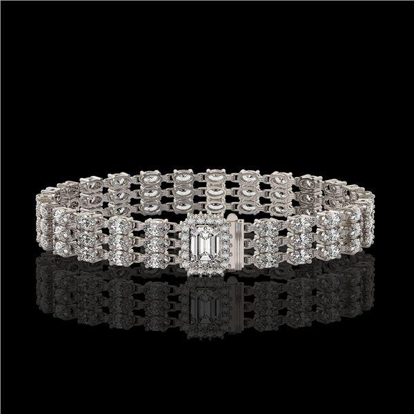 19.48 ctw Emerald Cut & Oval Diamond Bracelet 18K White Gold - REF-2068X4A