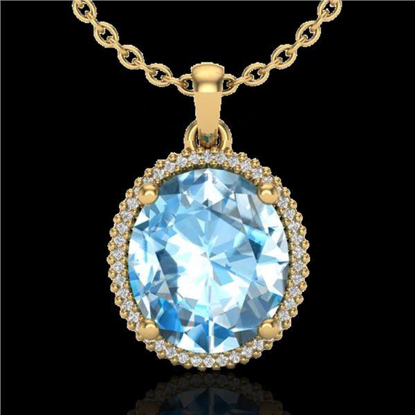 12 ctw Sky Blue Topaz & Micro VS/SI Diamond Necklace 18k Yellow Gold - REF-77Y3X
