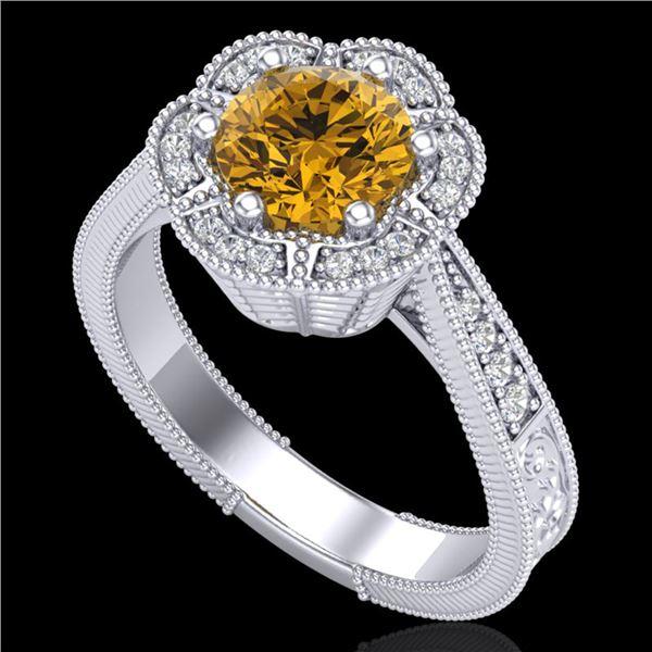 1.33 ctw Intense Fancy Yellow Diamond Art Deco Ring 18k White Gold - REF-227Y3X