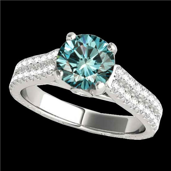 1.61 ctw SI Certified Fancy Blue Diamond Pave Ring 10k White Gold - REF-135G2W