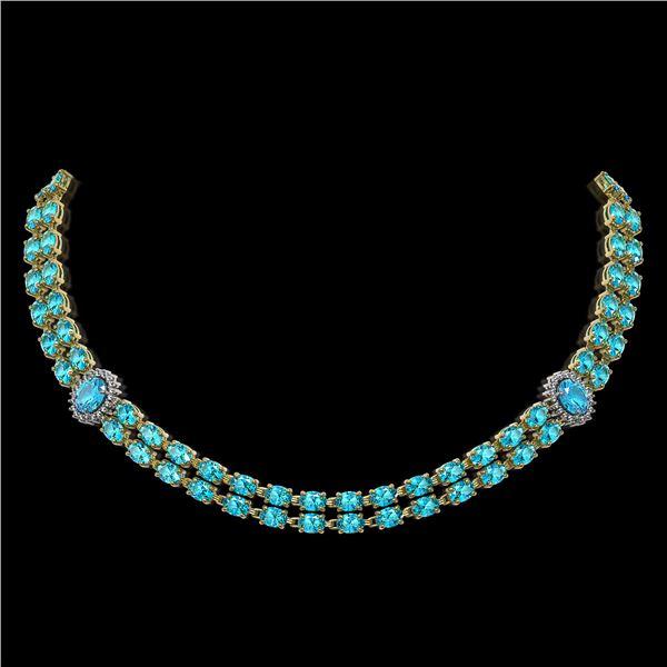 39.28 ctw Swiss Topaz & Diamond Necklace 14K Yellow Gold - REF-454N5F