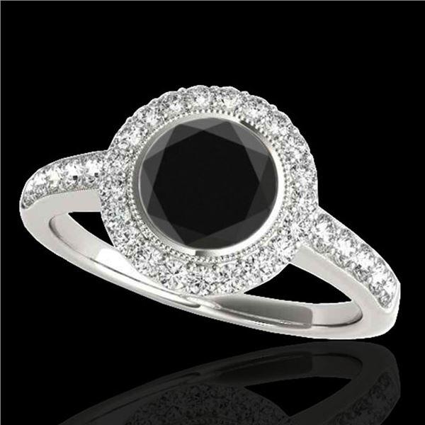 1.5 ctw Certified VS Black Diamond Solitaire Halo Ring 10k White Gold - REF-62H8R