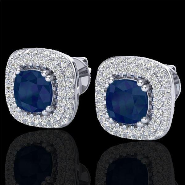 2.16 ctw Sapphire & Micro VS/SI Diamond Earrings Halo 18k White Gold - REF-105H6R