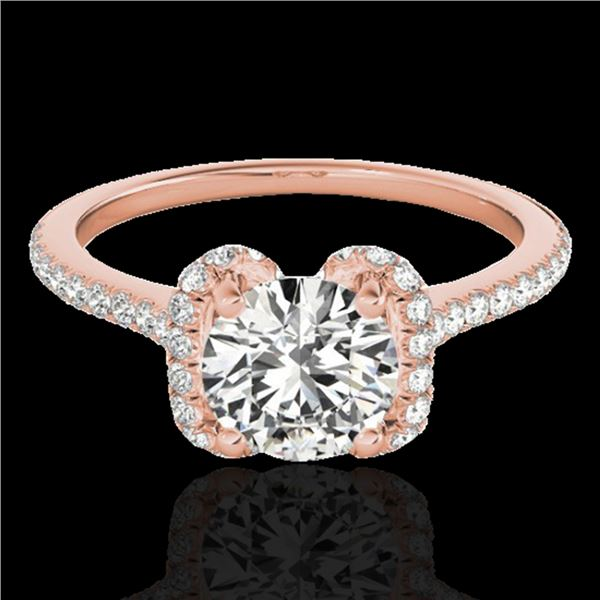 1.33 ctw Certified Diamond Solitaire Halo Ring 10k Rose Gold - REF-190F9M