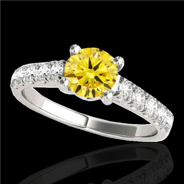 2.1 ctw Certified SI/I Fancy Intense Yellow Diamond Ring 10k White Gold - REF-368M2G