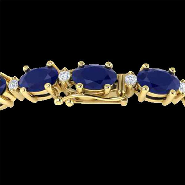 15 ctw Sapphire & VS/SI Diamond Eternity Bracelet 10k Yellow Gold - REF-122A8N