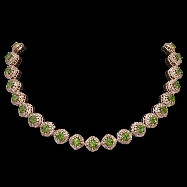 72.27 ctw Tourmaline & Diamond Victorian Necklace 14K Rose Gold - REF-2169R8K