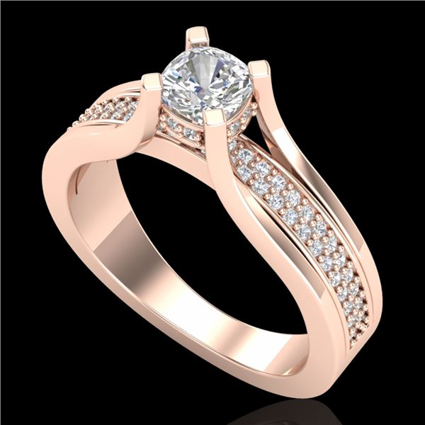1.01 ctw Cushion VS/SI Diamond Micro Pave Ring 18k Rose Gold - REF-174Y5X