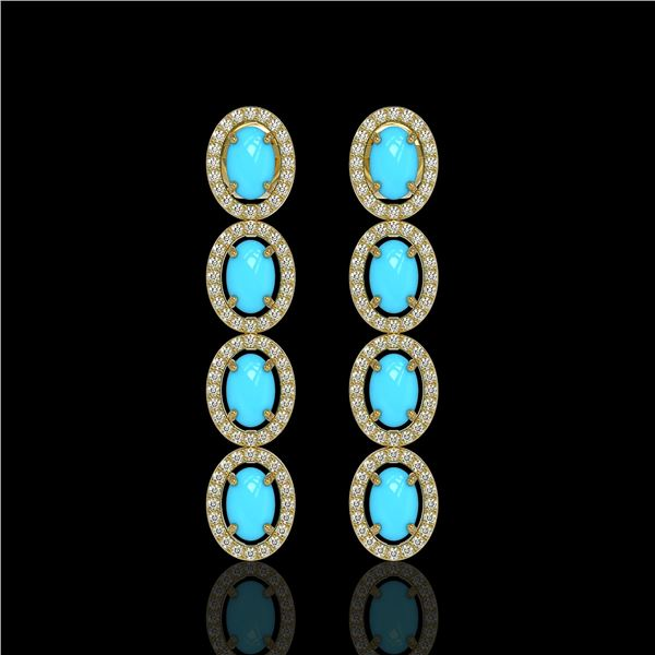 4.84 ctw Turquoise & Diamond Micro Pave Halo Earrings 10k Yellow Gold - REF-110W9H