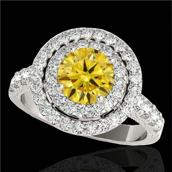 3 ctw Certified SI/I Fancy Intense Yellow Diamond Halo Ring 10k White Gold - REF-320M5G