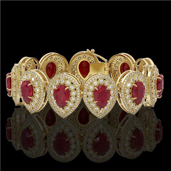 56.04 ctw Certified Ruby & Diamond Victorian Bracelet 14K Yellow Gold - REF-1520G8W