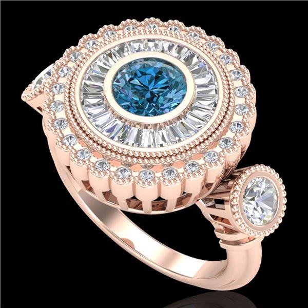2.62 ctw Intense Blue Diamond Art Deco 3 Stone Ring 18k Rose Gold - REF-290M9G