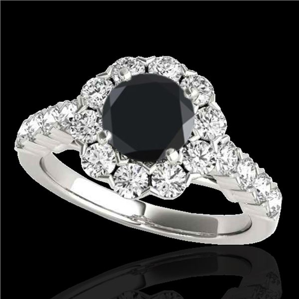 2.35 ctw Certified VS Black Diamond Solitaire Halo Ring 10k White Gold - REF-102N3F