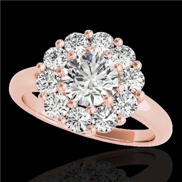 2.09 ctw Certified Diamond Solitaire Halo Ring 10k Rose Gold - REF-225Y2X