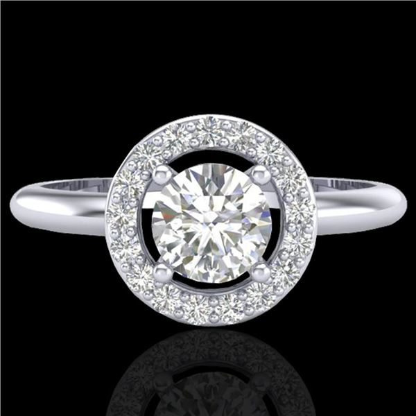 0.70 ctw Micro Pave Halo VS/SI Diamond Certified Ring 18k White Gold - REF-110G8W