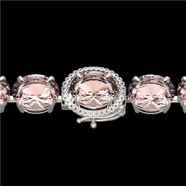 67 ctw Morganite & Micro Pave Diamond Bracelet 14k White Gold - REF-981H8R