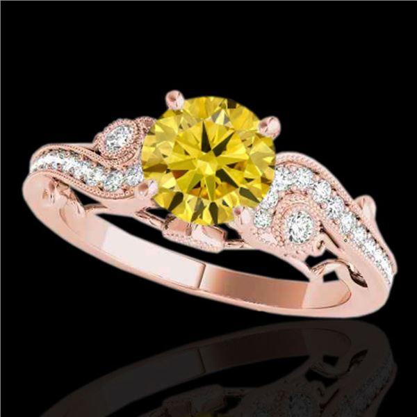 1.5 ctw Certified SI Intense Yellow Diamond Antique Ring 10k Rose Gold - REF-245M5G