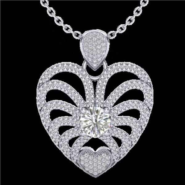 3 ctw Micro Pave VS/SI Diamond Certified Heart Necklace 14k White Gold - REF-477R3K