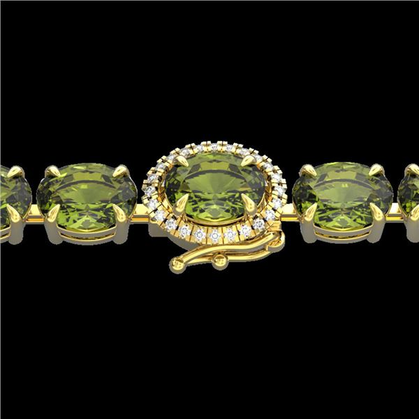 27 ctw Green Tourmaline & VS/SI Diamond Micro Bracelet 14k Yellow Gold - REF-243F5M